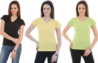 Ultrafit Branded  Solid Women's V-neck Multicolor T-Shirt  (Pack of 3).