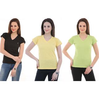 Ultrafit Branded  Solid Women's V-neck Multicolor T-Shirt  (Pack of 3).