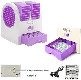 Mini Small Fan Cooling Portable Desktop Dual Bladeless Air Cooler USB