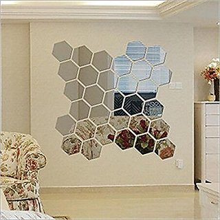 To Hexagon Silver (pack of 28) 9Acrylic Sticker, 3D Acrylic Sticker, 3D Mirror, 3D Acrylic Wall Sticker, 3D Acrylic Stickers for Wall, 3D Acrylic Mirror Stickers for Living Room, Bedroom, Kids Room, 3D Acrylic Mural for Home , Offices Decor Acrylic Sticke