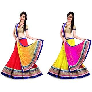 Flying Sparrow Multicolor Net Partywear Lehenga Choli For Women COMBOFS064