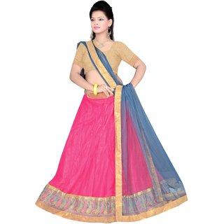 Flying Sparrow Red Net Partywear Lehenga Choli For Women FS030
