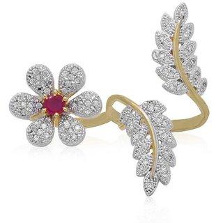 LA CRUISE AMERICAN DIAMOND DOUBBLE FINGER RINGFree Size