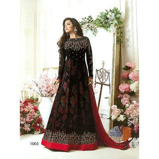 W Ethnic Women's Drashti Dhami Designer Georgette Black Color Embroidery work WIth coding work Anarkali Suit