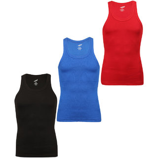 SOLO Men's Designer Cotton Color Vest Soft Stretchable Casual Sleeveless (Pack of 3)