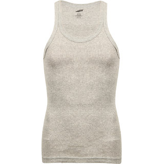 SOLO Men's Designer Cotton Color Vest Soft Stretchable Casual Sleeveless Grey Melange Color