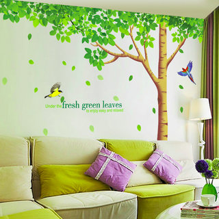 Wall Sticker Nature Trees Branch and Leafs Quote and Birds Big Size