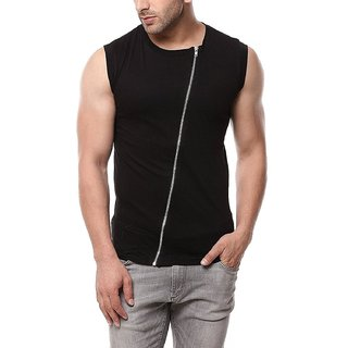 Mens Sleeveless T Shirt with Zip