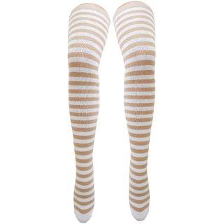 Neska Moda Women Beige Striped Cotton Thigh High Stockings STK14