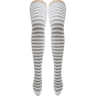 Neska Moda Women Grey Striped Cotton Thigh High Stockings STK10