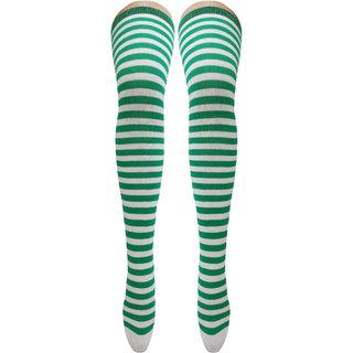 Neska Moda Women Green Striped Cotton Thigh High Stockings STK11