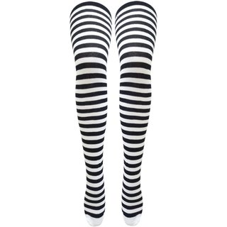 36d8d62a5 Buy Neska Moda Women Black Striped Cotton Thigh High Stockings STK12 ...