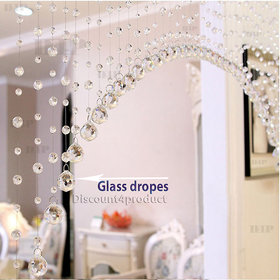Discount4product 10 Strings Bead String Curtain Transparent (Plastic Bead Glass Drops)
