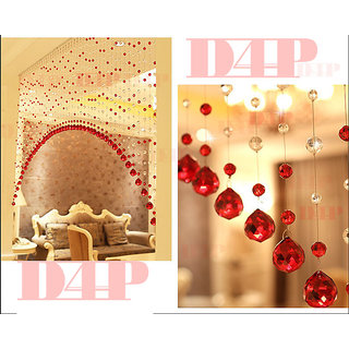 Discount4product 10 Strings Bead String Curtain Red (Plastic Bead Glass Drops)