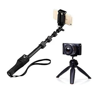 ADZOMS YT 1288 2 In 1 Adjustable Selfie Stick Monopod with Bluetooth Remote Shutter and Mini Tripod Black