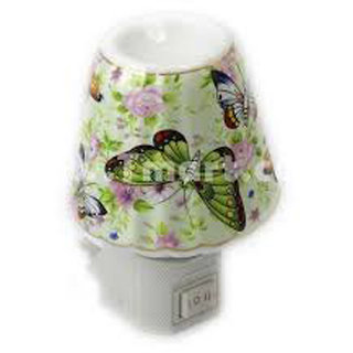 Style Maniac Ceramic Butterfly Printed Plug In Night Lamp