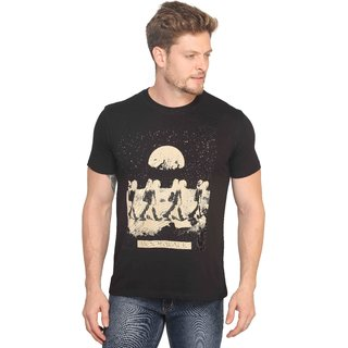 Mr.Stag Printed Mens Round Neck Black Half Sleeves T-Shirt Large