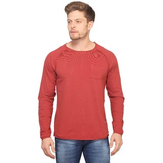 Mr.Stag Plain Mens Round Neck Red Full Sleeves T-shirt