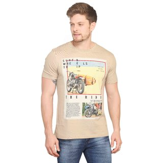 Mr.Stag Printed Mens Round Neck Beigh Half Sleeves T-Shirt