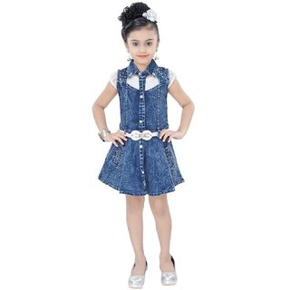 d53e013bf6a Buy Arshia Fashions Girls Partywear Denim Short Dress with Top Online - Get  72% Off