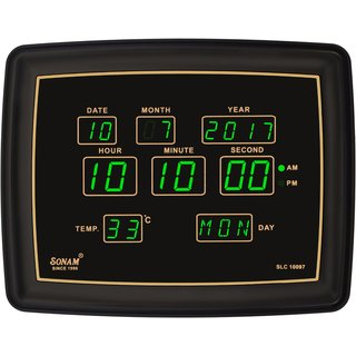 Sonam SLC 10097Green Digital Wall Clock