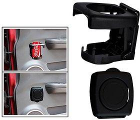 Foldable Car Drink / Can / Glass / Bottle Holder - Black For All Cars