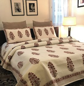 Zila Home Red Tulip Flower King size Cotton Bedcover