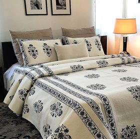Zila Home Magnolia Blue Flower King size Cotton bedcover
