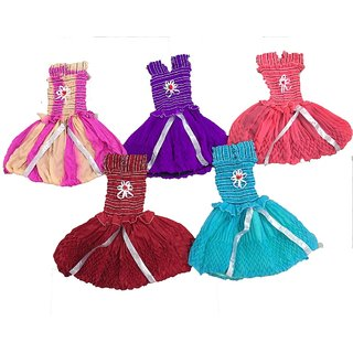 White World Baby Girls A-Line Georgette Dresses (Multicolor Set of 5)
