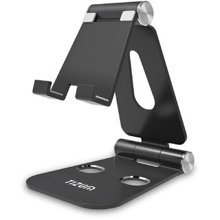Tizum Anodized Aluminum Adjustable Foldable Stand for All Smartphones (Anti Slip Base/Black/Fits 4-13 inch)