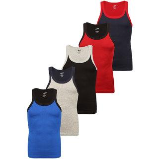 Solo Mens Trendy U  Neck Sporty Cotton Vest (Pack of 5)