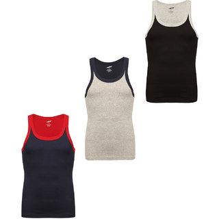 Solo Mens Trendy U  Neck Sporty Cotton Vest (Pack of 3)
