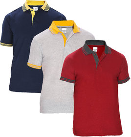 Pack of 3 Baremoda Men Multicolor Polo Collar T-Shirt
