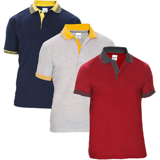 Pack of 3 Baremoda Plain Multicolor Polo Collar T-Shirt For Men