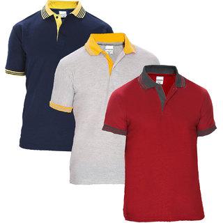 Pack of 3 Baremoda Plain Multicolor Polo Collar Regular Fit Men's T-Shirt