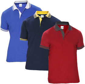 Baremoda Multicolor Plain Cotton Polo Collar Casual T-Shirt For Men Pack Of 3