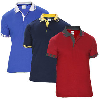 Baremoda Multicolor Plain Cotton Polo Collar Casual T-Shirt For Men (Pack Of 3)