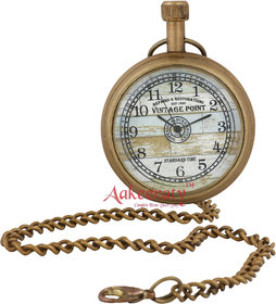 Aakeeraty Antique Finish Brass Pocket Watch Chain