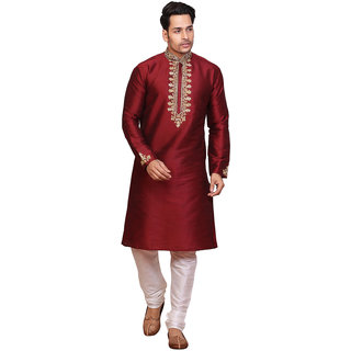 Conway Solid Red Floral Print Silk Sherwani For Mens