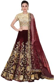 W Ethnic Women's Designer Bollywood Style Maroon Velvet Embroidery Work Semi-Stitched Lehenga Choli