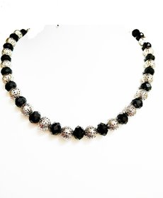 Threaded Black crystals and silver Bead necklace