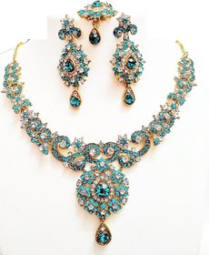 Turquoise blue and silver diamond necklace with maangteeka