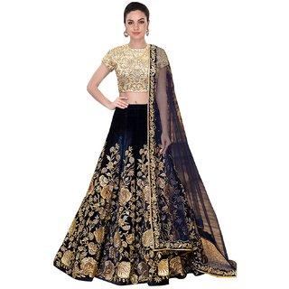 W Ethnic Women's Designer Bollywood Style NAVY BLUE Velvet Embroidery Work Semi-Stitched Lehenga Choli