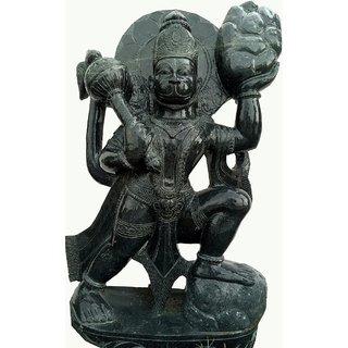 Shree Hanuman 1 ft Blackstone Granite Statue
