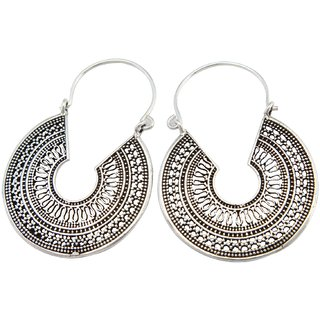 La Belle Vie (LBV) 925 Oxidized Sterling Silver Earring For Women (PC-BCR-1518)