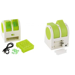 Right traders Mini Small Fan Cooling Portable Desktop Dual Bladeless water Air Cooler USB (Color on Availability)