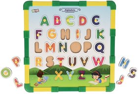 SHRIBOSSJI Kirat 2 in 1 Wooden Educational Alphabet Puzzle with Snake and Ladders (Dice and Token Included)  (Multicolo