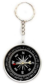 Metal Compass Camping Hiking Hunting Key Chain Ring Survival- Multicolor