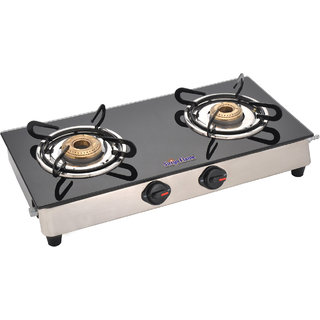 SURYAFLAME Glass 2 Burner Gas Stove Black SF-BL-CL-0234B