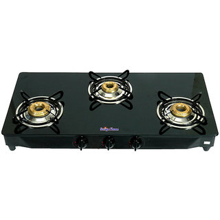 Surya Flame 3 Burner Auto Ignition Sparkle Cooktop Gas Stove